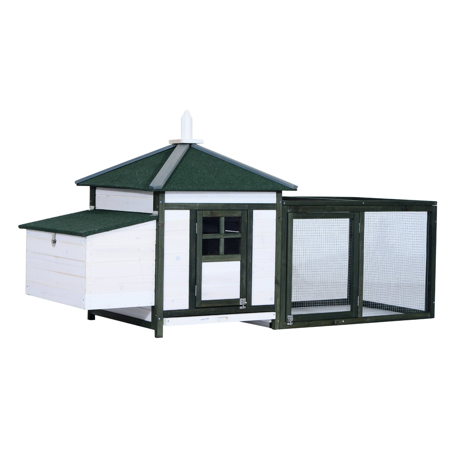 PawHut Chicken Coop Wooden House Large Backyard with Nestbox