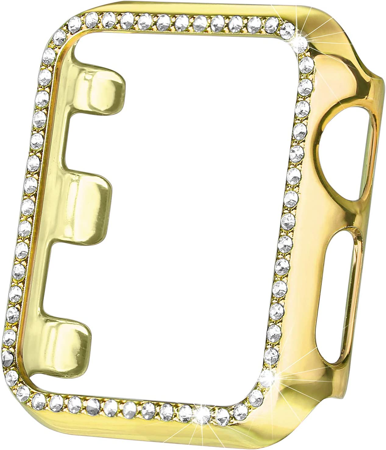 Secbolt 38mm Case Compatible with Apple Watch Band, Bling Full Cover Bumper Protective Frame Screen Protector for iWatch Series 3/2/1 (Yellow Gold-38mm)