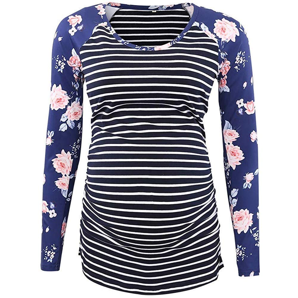 Zerototens Womens Ladies Maternity Top Long Sleeve Scoop Neck Pregnant Nursing Baby Stripe Floral Print Pullover Sweatshirt Tops Blouse Clothes