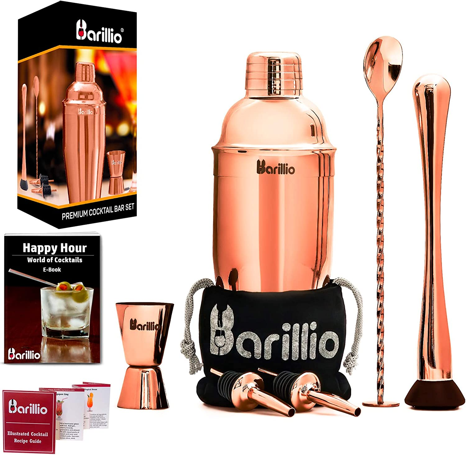 Rose Copper Cocktail Shaker Set Bartender Kit by BARILLIO: 24 oz Stainless Steel Martini Mixer, Muddler, Mixing Spoon, jigger, 2 liquor pourers, Velvet Bag Recipes Booklet & eBook