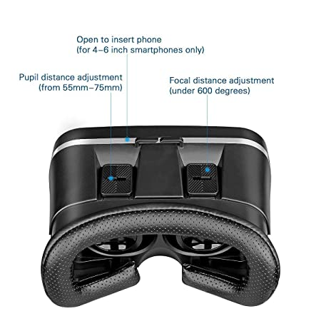 Amazon.com: Asdf VR Virtual Reality Glasses VR Video Movie VR Glasses Headset with Microphone for Sony iPhone Smartphone: Electronics