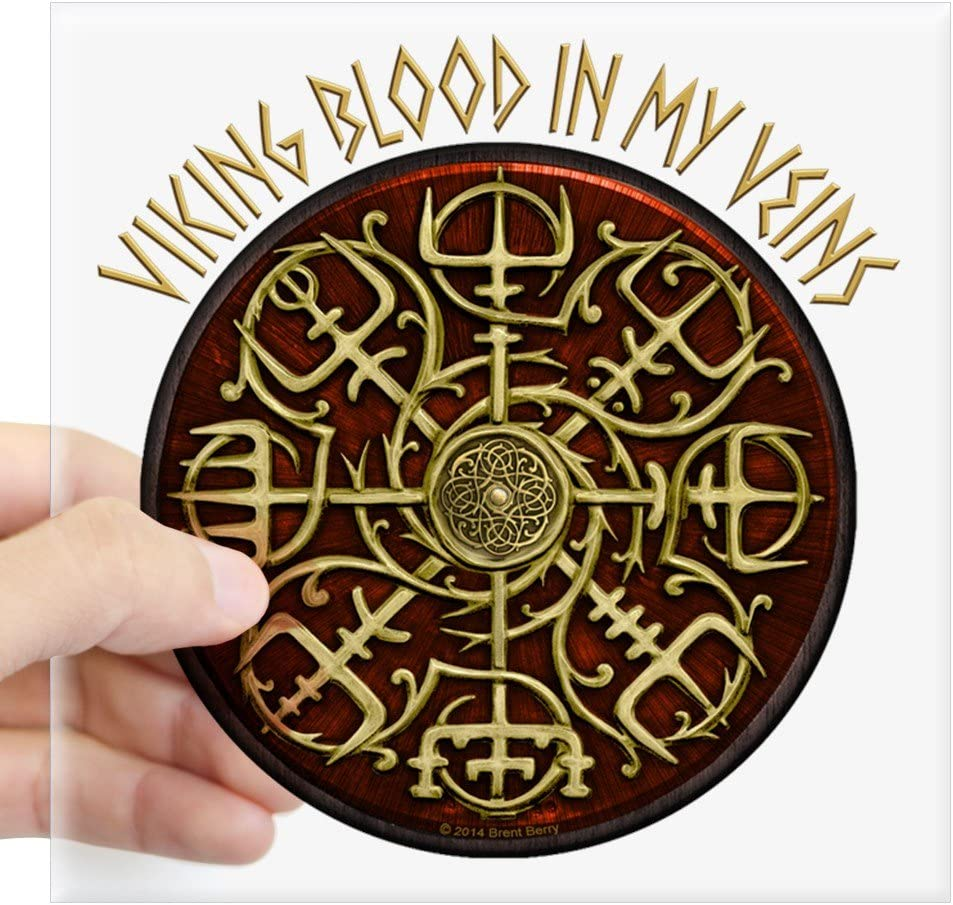 """CafePress Nordic Guidance Viking Blood Sticker Square Bumper Sticker Car Decal, 3""""x3"""" (Small) or 5""""x5"""" (Large)"""