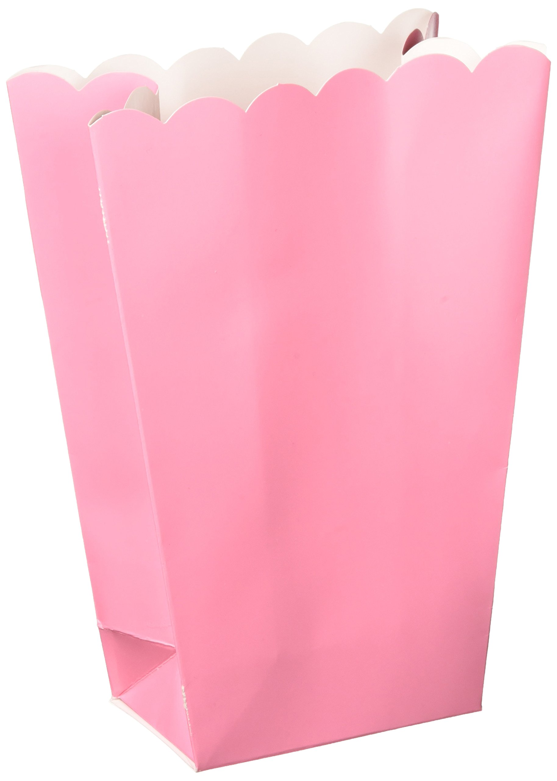 Amscan Party Ready Large Popcorn Favour Box, Baby Pink, Paper, 7'' X 5'', Pack of 10 Childrens-Party-Favor-Sets by Amscan