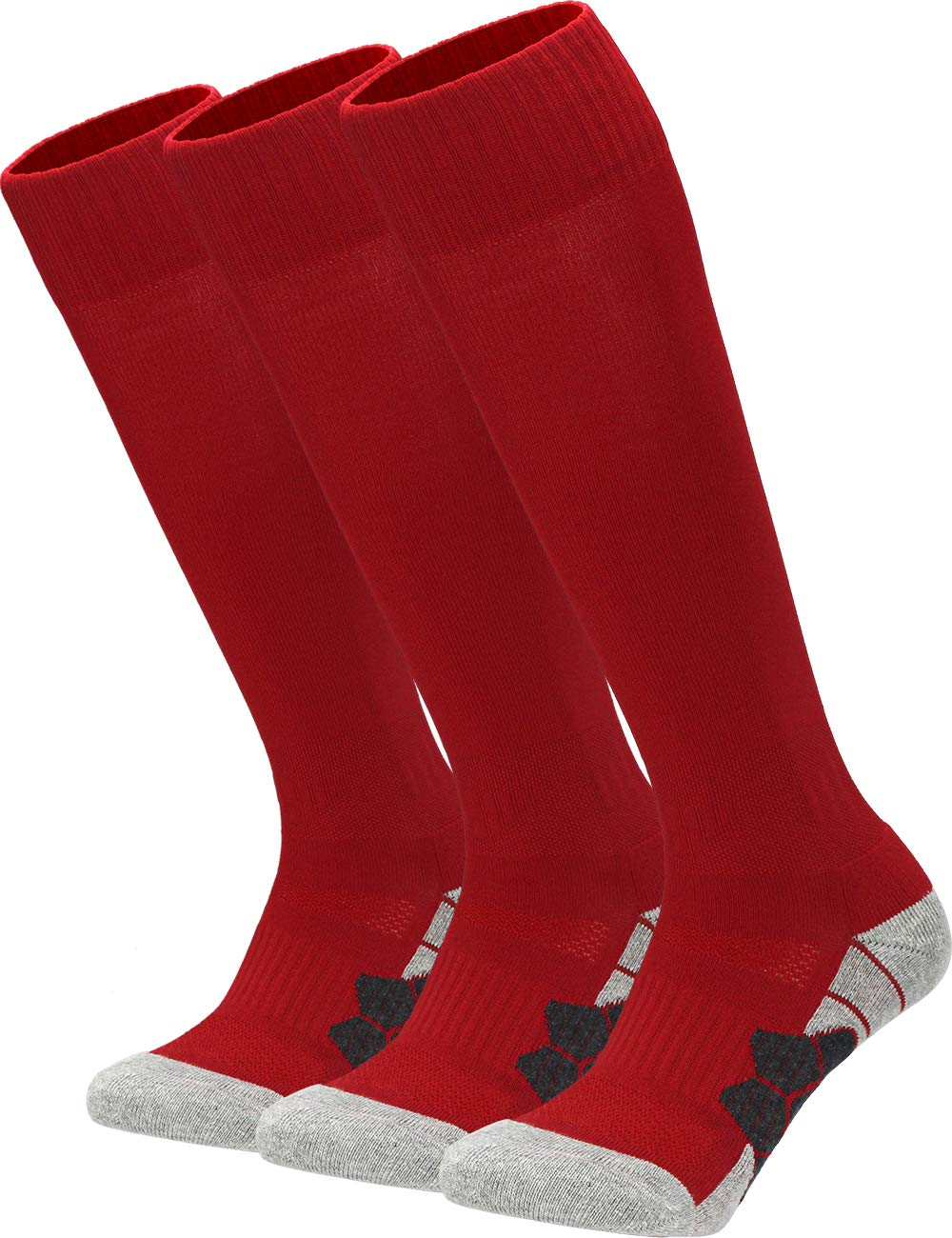 Youth Kids Adult Knee High Cotton Athletic Socks Boys Girls Parent-Child Outdoor Active Long Towel Bottom Socks, 3-Pair Red, Size S (Kids 3C-7C / Youth 3Y-5Y / W 4-6) by APTESOL