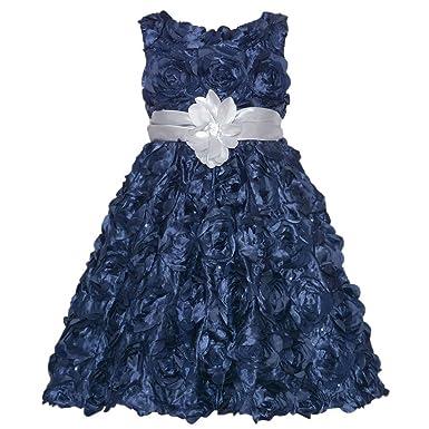 rare editions navy rosette silver flower girls christmas dress 16
