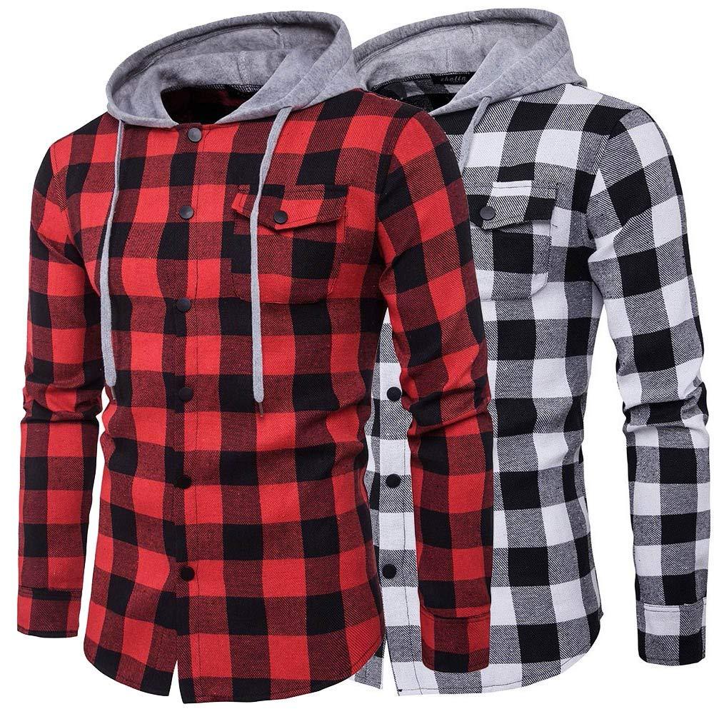 Winsummer Mens Plaid Flannel Button Down Shirt Long Sleeve Hooded Shirt Tops
