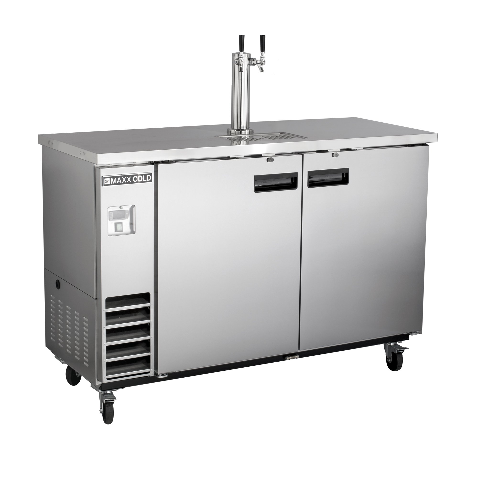 Maxx Cold MXBD60-1S Commercial Stainless Steel NSF Bar Direct Draw Kegerator Beer Dispenser Cooler with 1 Single Tower Tap Holds 2 Half 1/2 Size Keg, 61.1 Inch Wide 14.2 Cubic Feet , Silver