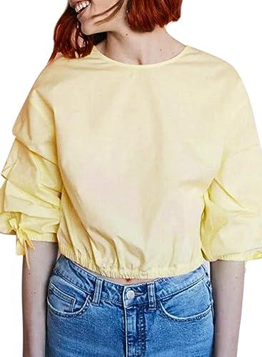Azbro Mujer Moda Blusa Pullover Manga con Volantes de Color Sólido