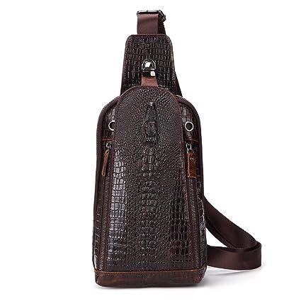 Ybriefbag Outdoor Sports Men s Genuine Leather Chest Bag Backpack Hiking  Satchel Camping Sling Shoulder Cross Body 02d19a145de9d