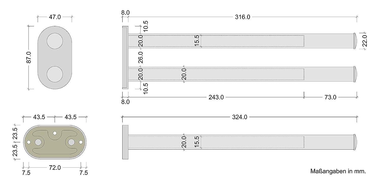 Longueur de 325 /à 565 mm Barres: 1 19mm /Ø Mod/èle TOWELL Gedotec Porte-serviette Extensible Barre Murale avec Rail de Rallonge Coulissant pour Salle de Bain 1 Pi/èce Chrom/é Poli