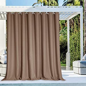 """NICETOWN Outdoor Privacy Curtain for Patio Waterproof, Grommet Top Thermal Insulated Blackout Extra Wide and Long Door Blind for Sunroom/Pavilion/Gazebo, Tan, 1 Piece, 120"""" Wide by 108"""" Long"""