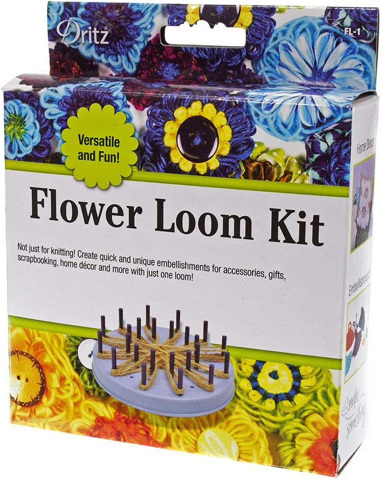 60 Removable Pegs Knitting Kit Includes Flower Design Instructions Knitting Loom Flower Pattern Knitting Loom Kit and Plastic Needle