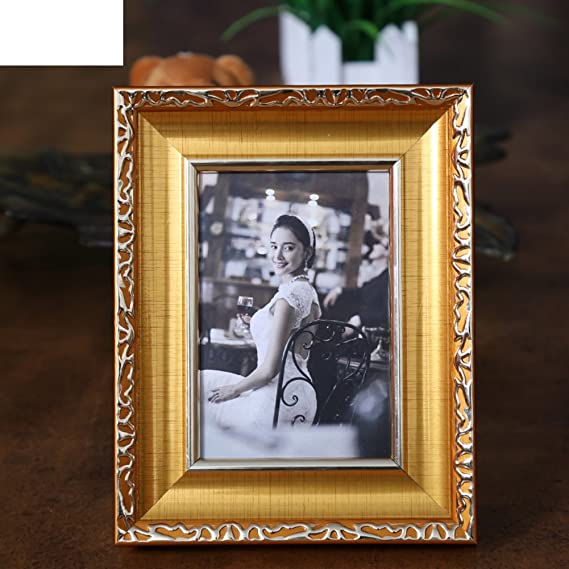 DHWJ Portaretrato Creativo Europeo, Establecer Marco de Fotos,Marco de Mesa de Metal,Marco de Fotos de Pareja de los niños-A 8.89x12.7cm(4x5inch): ...
