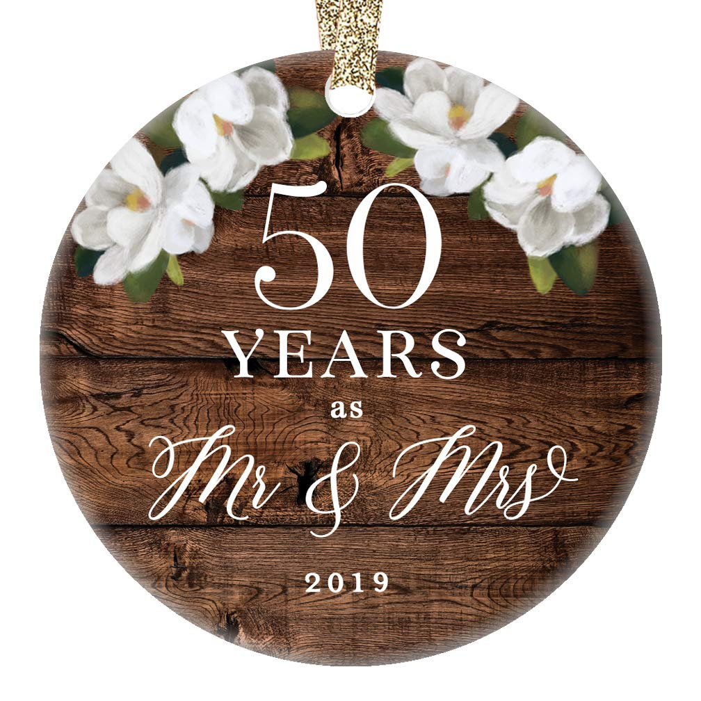 Ornament 50th Fiftieth Golden Wedding Anniversary Ceramic Collectible 50 Fifty Years Married Couple Rustic Floral 3 Flat Porcelain Keepsake with Gold Ribbon /& Free Gift Box Christmas 2019 Mr /& Mrs