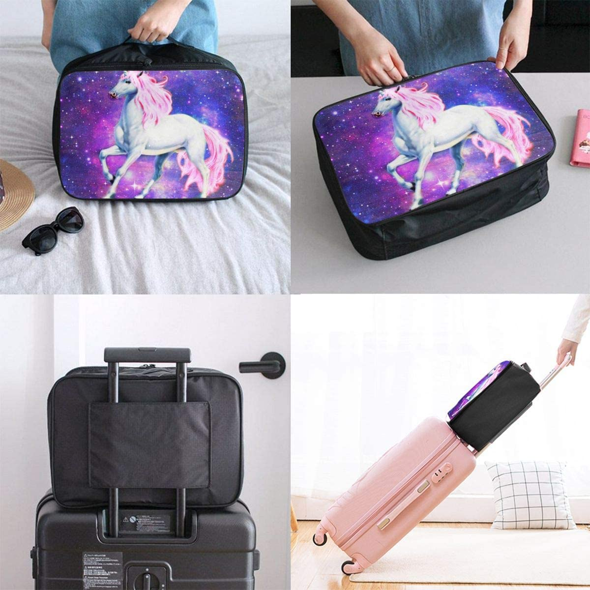 Starry Unicorn Travel Carry-on Luggage Weekender Bag Overnight Tote Flight Duffel In Trolley Handle