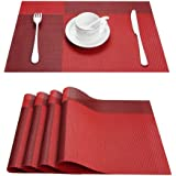 """Top Fine Eco-friendly Colorful Plaid Mats Placemats Washable Heat-resistant for Dining Table 12"""" By 18"""" (Set of 4, Red)"""