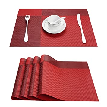 Awesome Top Fine Eco Friendly Colorful Plaid Placemats Table Mats Washable  Heat Resistant For Dining