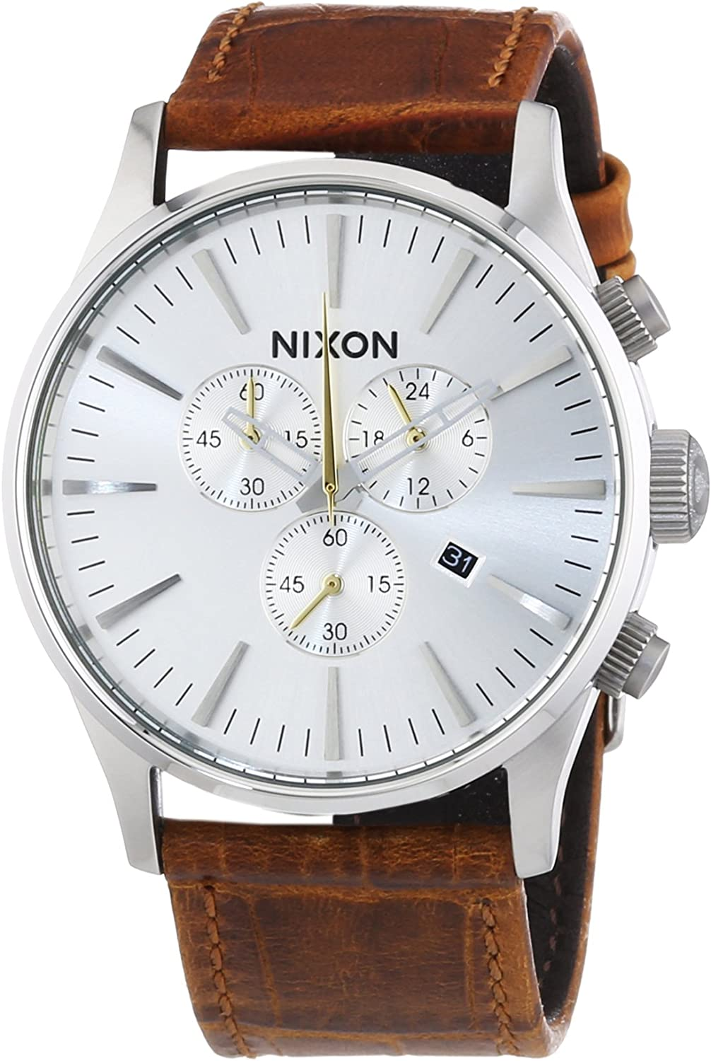 NIXON Men s Sentry Quartz Stainless Steel and Leather Casual Watch, Color Brown Silver dial Model A405-1888
