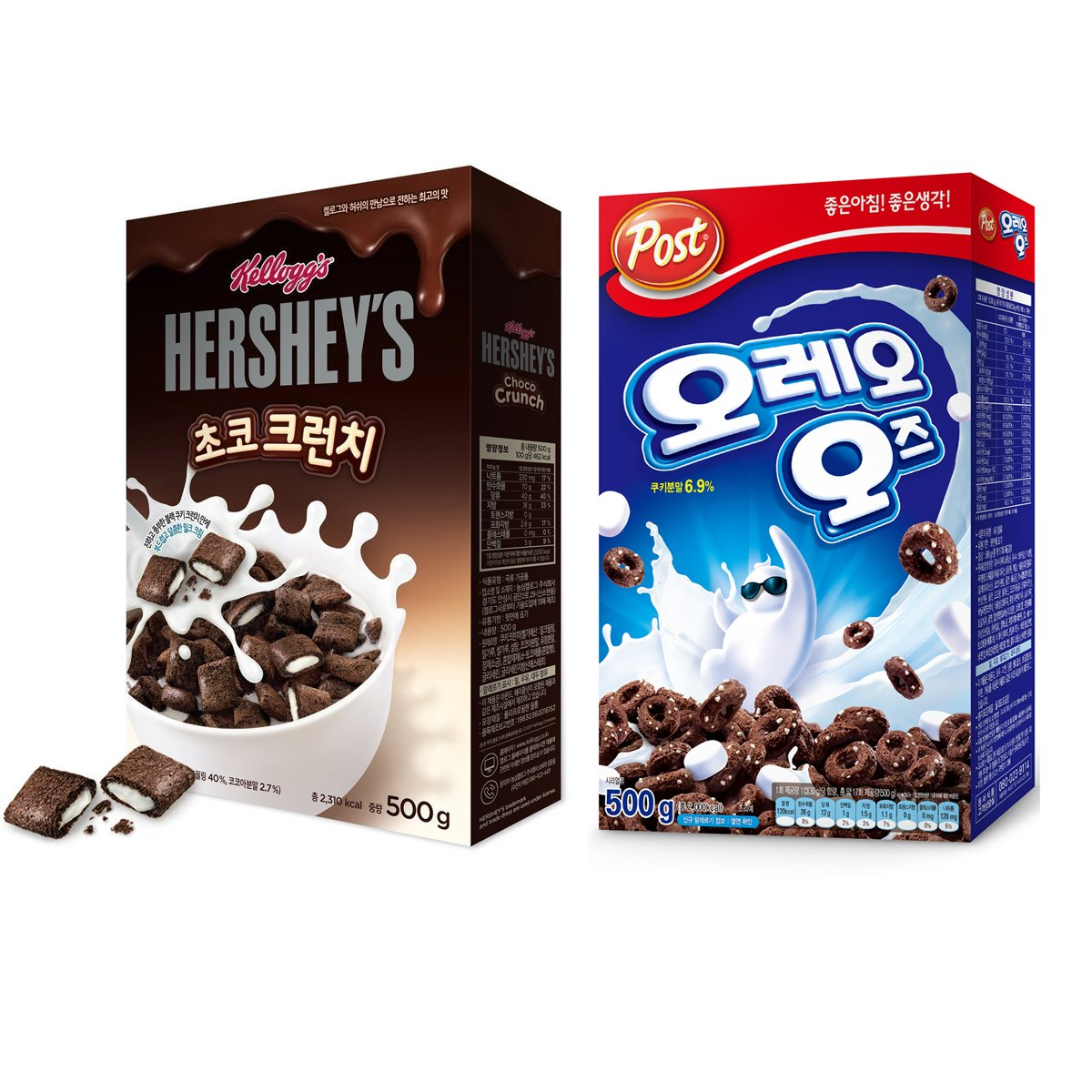 [Korea Limited] Kellogg's Hershey Chocolate Crunchies Cereals 500g(17.6oz) + POST OREO O`s Cereals 500g(17.6oz) / Korean food / Korean cereals (Overseas)