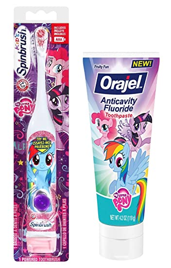 My Little Pony Rainbow Dash Toothbrush & Toothpaste Bundle: 2 Items - Spinbrush Powered Toothbrush