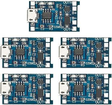 Carte de Circuit Imprim/é de Protection Module de Chargeur KKmoon 5Pcs 5V 1A Micro USB 18650 Batterie au Lithium de Charge
