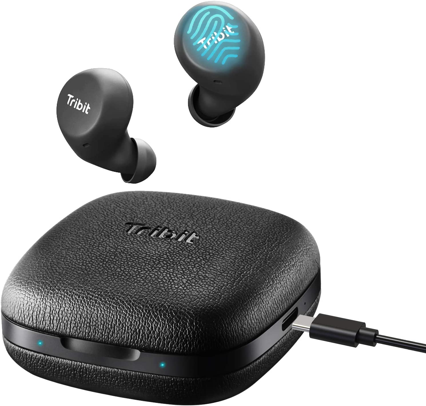 Tribit FlyBuds Wireless Earbuds – 5.0 Bluetooth Earbuds Touch Control Type-C 36Hrs Playtime Built-in Mic CVC 6.0,IPX5 Waterproof True Wireless Earbuds Passive Noise Canceling for Gym Running,Black