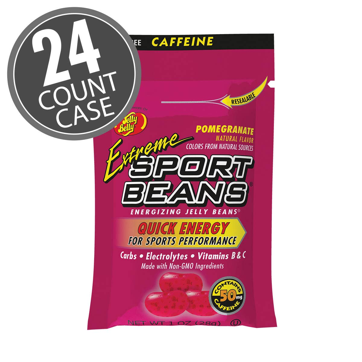 Jelly Belly Extreme Sport Beans - Caffeinated Energizing Jelly Beans - Pomegranate Flavor, 24 x 1 Ounce Bags by Jelly Belly