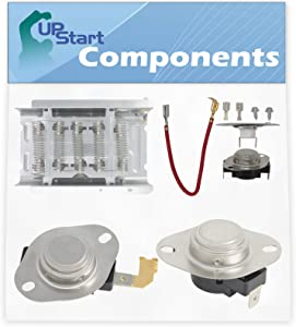 279838, 279816, 3392519 & 3977767 Dryer Heating Element & Thermostat Combo Pack Replacement for Whirlpool SEDX600JQ1 Dryer - Compatible Heater Element & Thermostat Kit