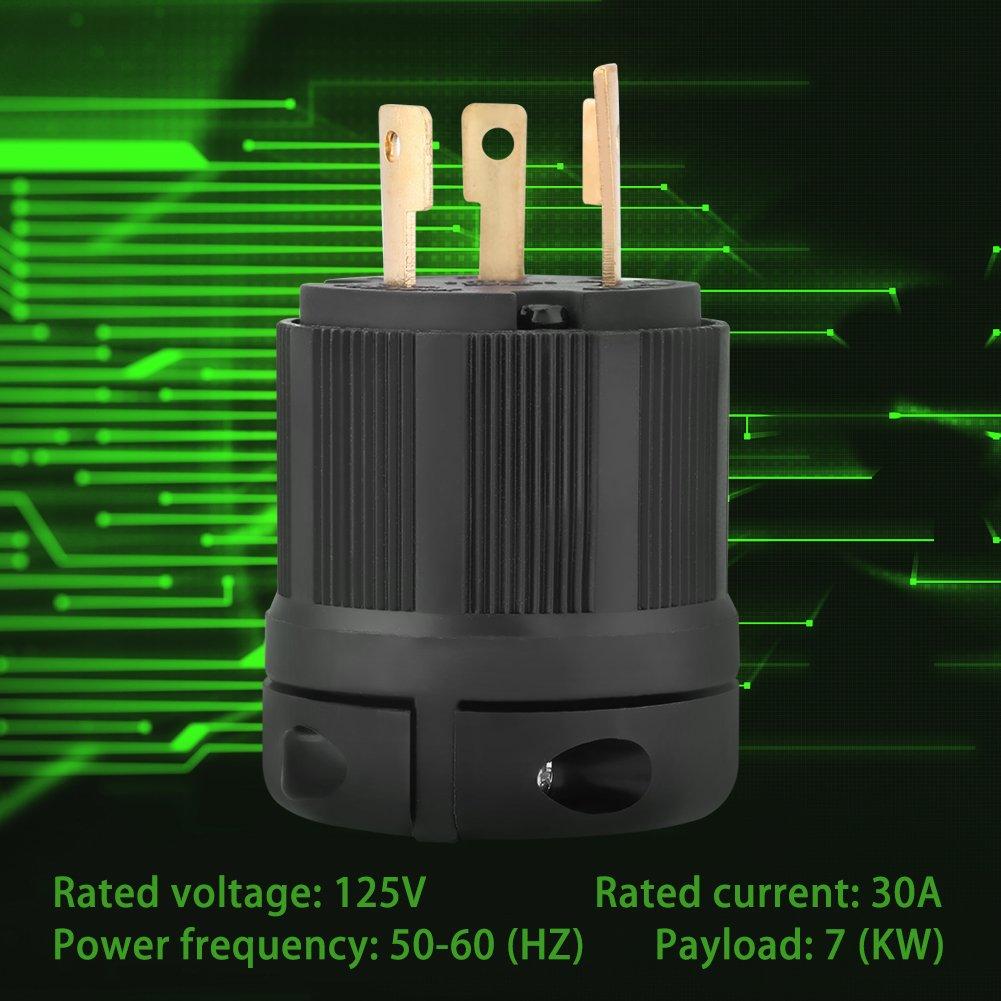 NEMA 3 Wire Electrical Plug Connector Generator L5-30 30A 125V Twist Lock Plug