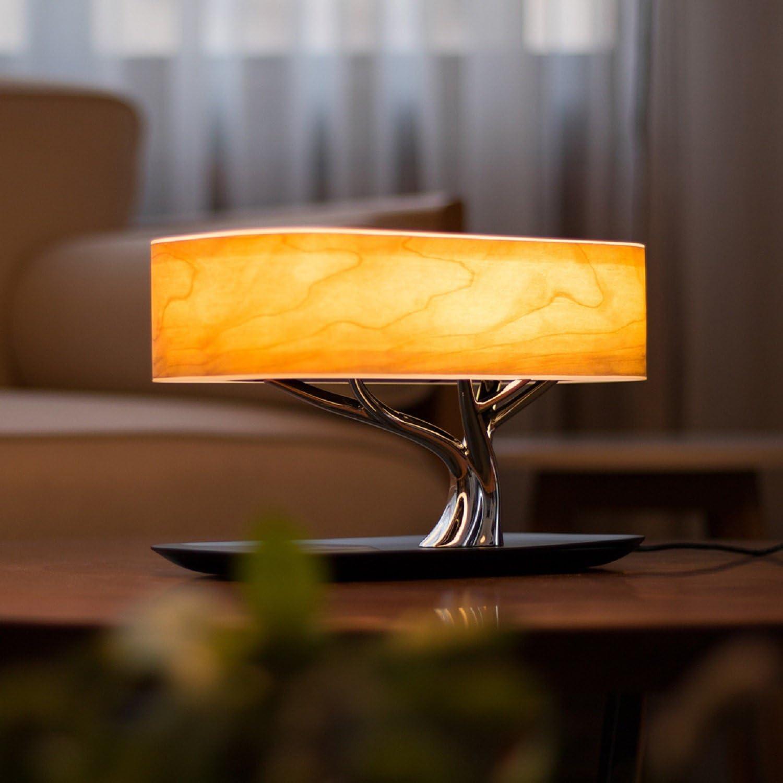 RAING Nordic Wooden Bed Head Lámparas de Escritorio Dormitorio Living Room Study/Touch Music Lámpara de Mesa/Bird Tree Conectable a Bluetooth