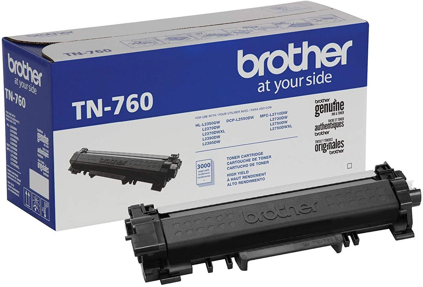 Brother Genuine Cartridge TN760 High Yield Black Toner: Office Products