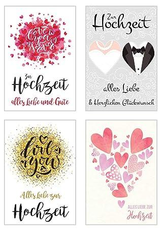 Set 4 Exklusive Hochzeitskarten Mit Umschlag Gluckwunschkarte