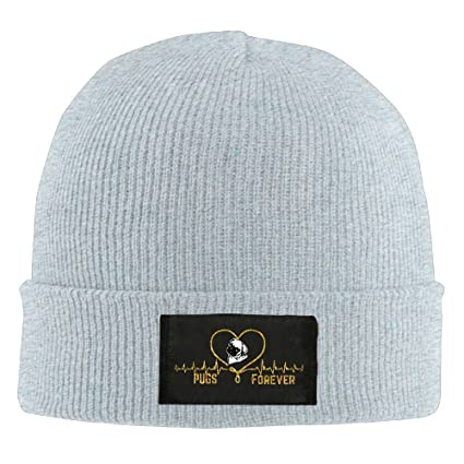 Pugs Lover Gift Unisex Warm Winter Hat Knit Beanie Skull Cap Cuff Beanie  Hat Winter Hats 967c70198a1