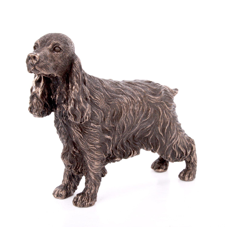 Cocker Spaniel Standing Small Cold Cast Bronze Statue Sculpture Dog Pets Gift Idea H9cm Fiesta Studios