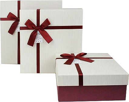 Tapa Transparente y Cinta de Sat/én Interior a Cuadros Rosa Efecto de M/ármol Blanco Con L/íneas Doradas de Origami Emartbuy Caja de Regalo de Presentaci/ón R/ígida Cuadrada 23.5 cm x 23.5 cm x 9 cm