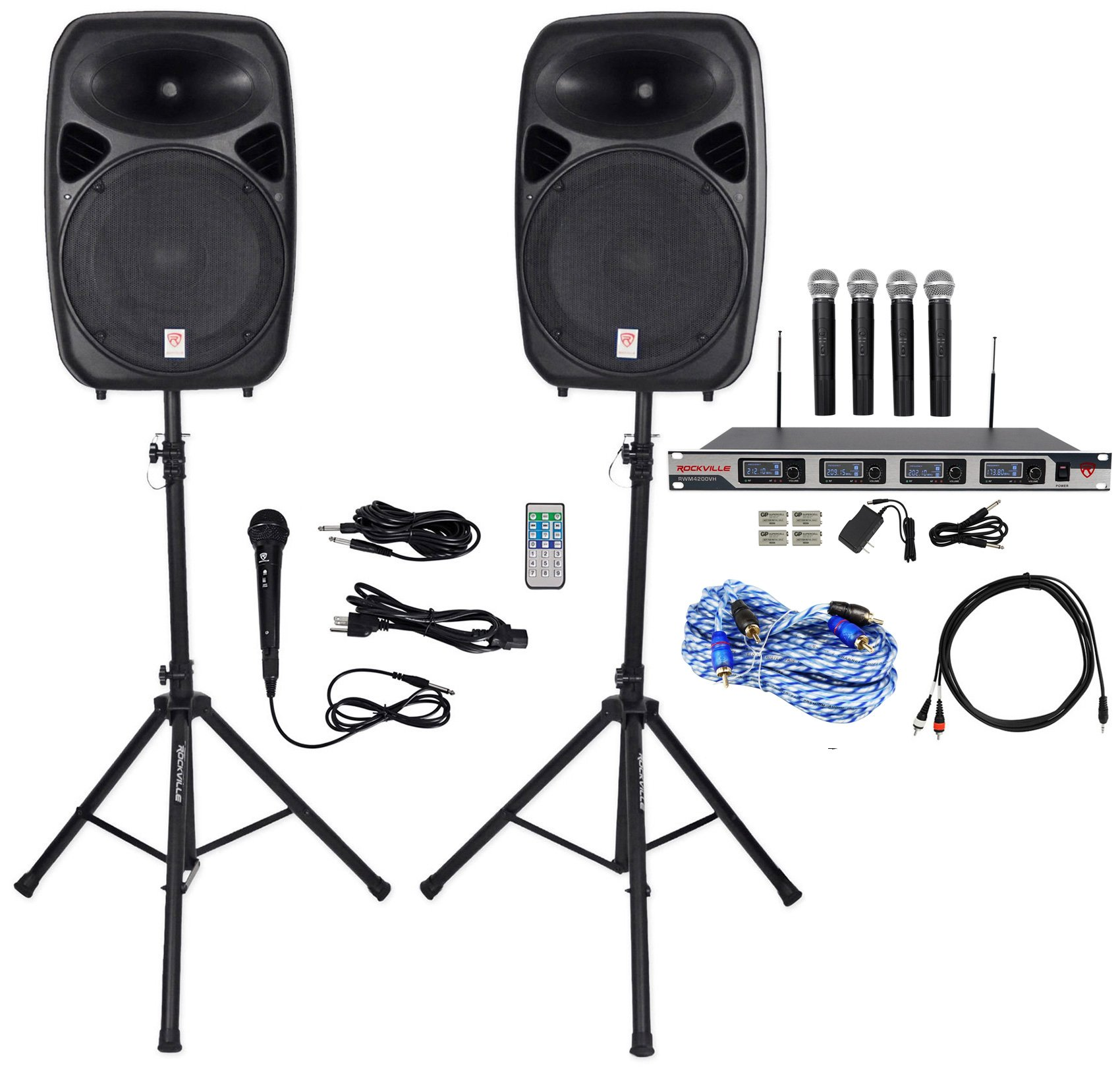 Rockville Dual 15'' iphone/ipad/Android/Laptop/TV Youtube Karaoke Machine/System