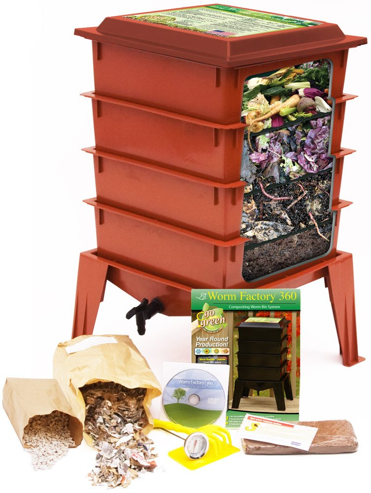 Worm Factory 360 Composting Bin (Terracotta) With 1000 Live Composting Worms By Worms Etc