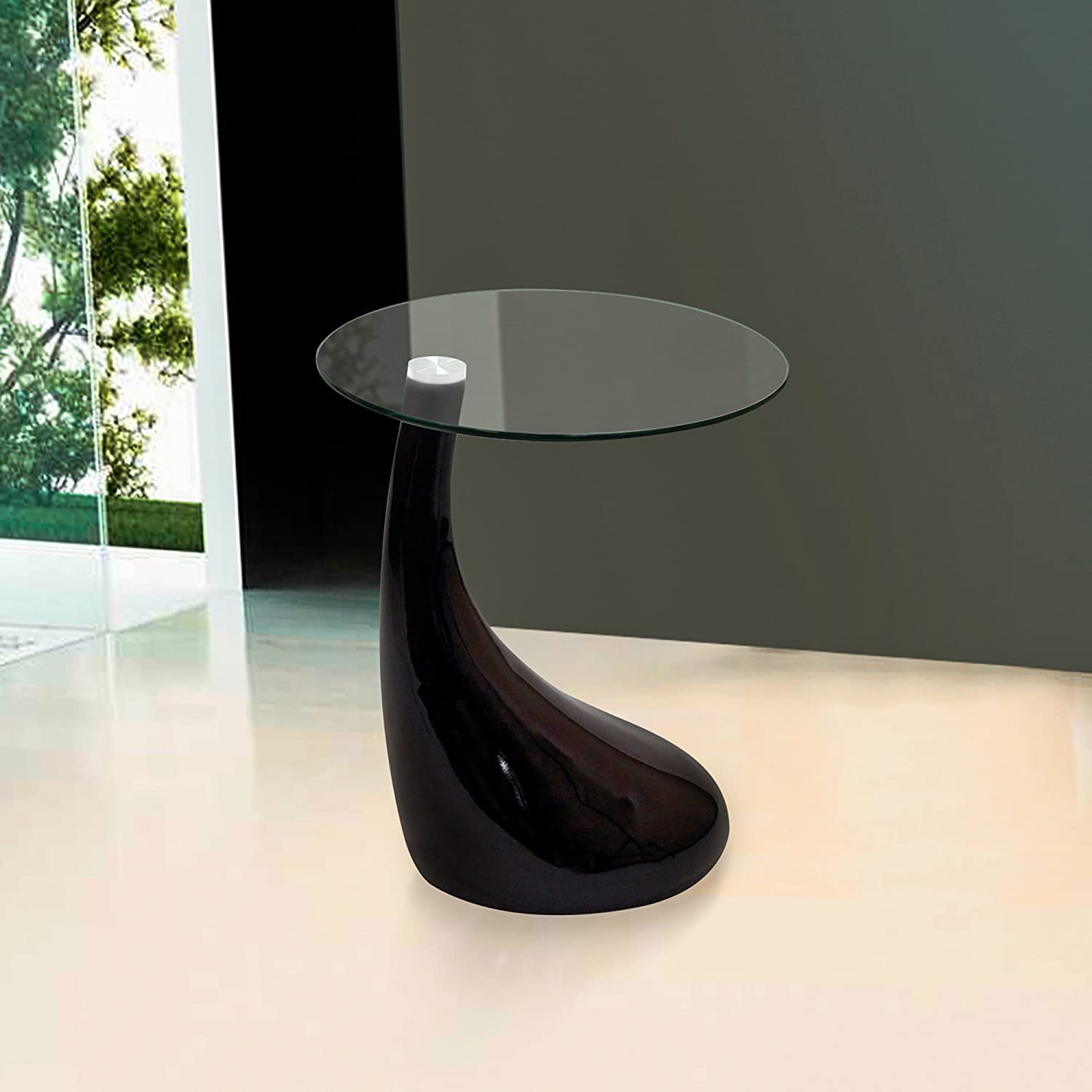 Fab Glass and Mirror Teardrop Side Table, Black