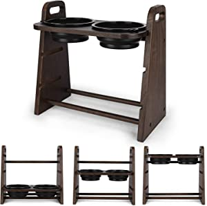 Emfogo Dog Bowls Elevated 3 Heights 4in 8in 13in Wood Raised Dog Bowl Stand with Double Bowls Raised Feeder for Dog Cat 16.7x15.5 inch (Weathered Walnut)