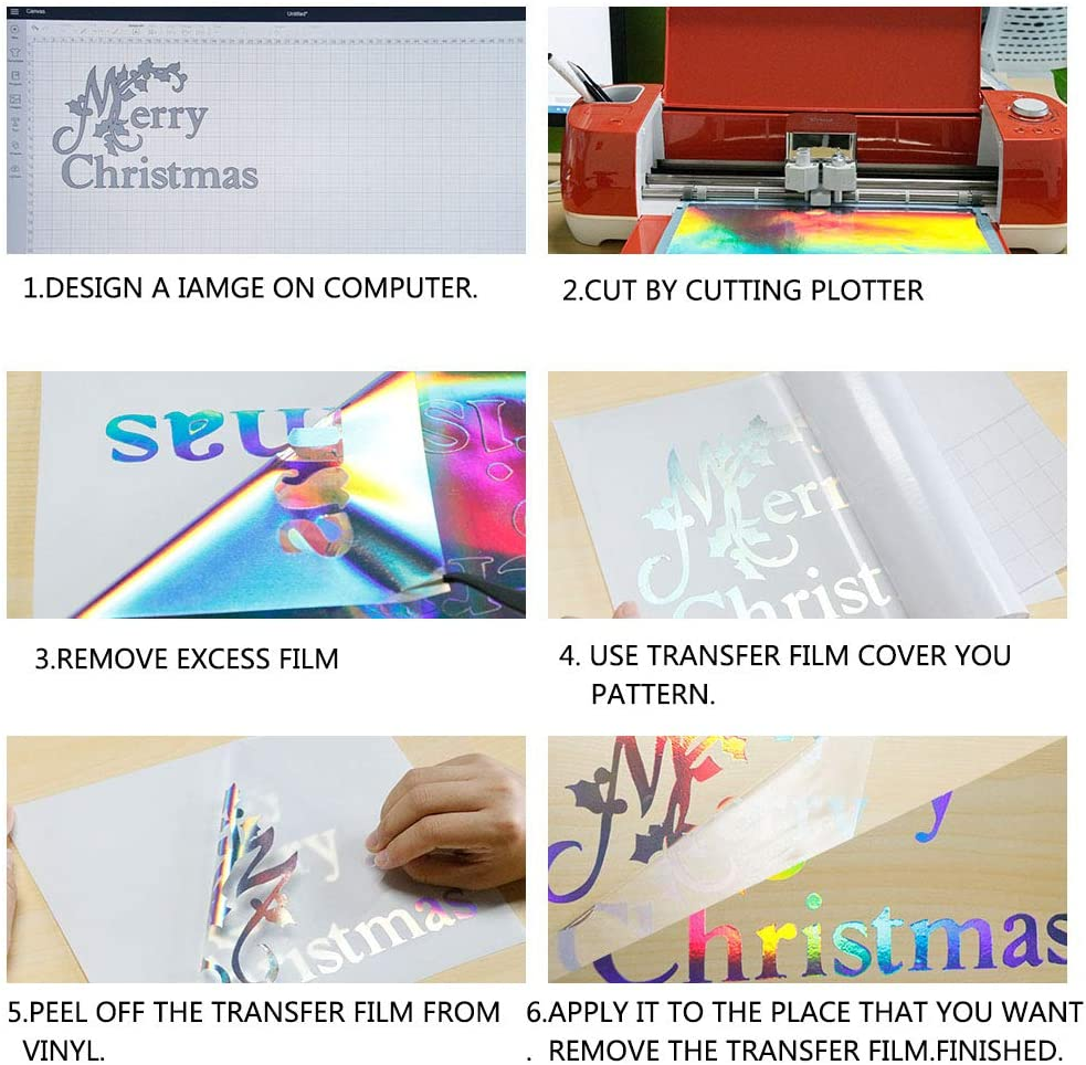 HOHOFILM Holographic Laser Adhesivo Permanente de vinilo, 5 hojas, 20,3 x 30,5 cm, con cinta de transferencia para trazador de corte: Amazon.es: Hogar
