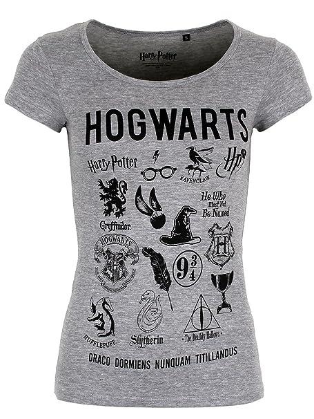 Cotton Division Camiseta Harry Potter para Mujer Símbolos Hogwarts Gris - XL: Amazon.es: Ropa y accesorios