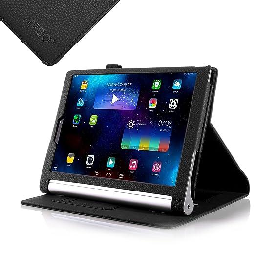 IVSO Slim-Book Funda de Cuero con Soporte para Lenovo YOGA Tablet 2 10.1-inch Tablet (Negro)