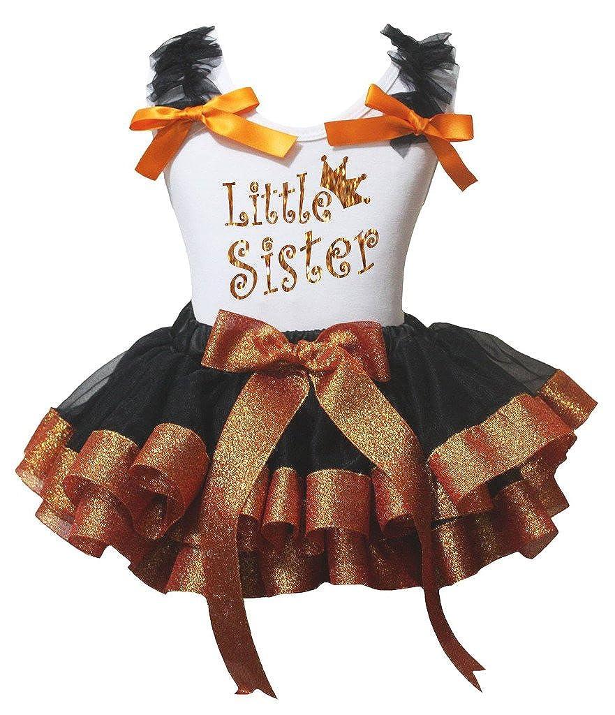 Petitebella Bling Little Sister White Shirt Orange Black Petal Skirt Nb-8y