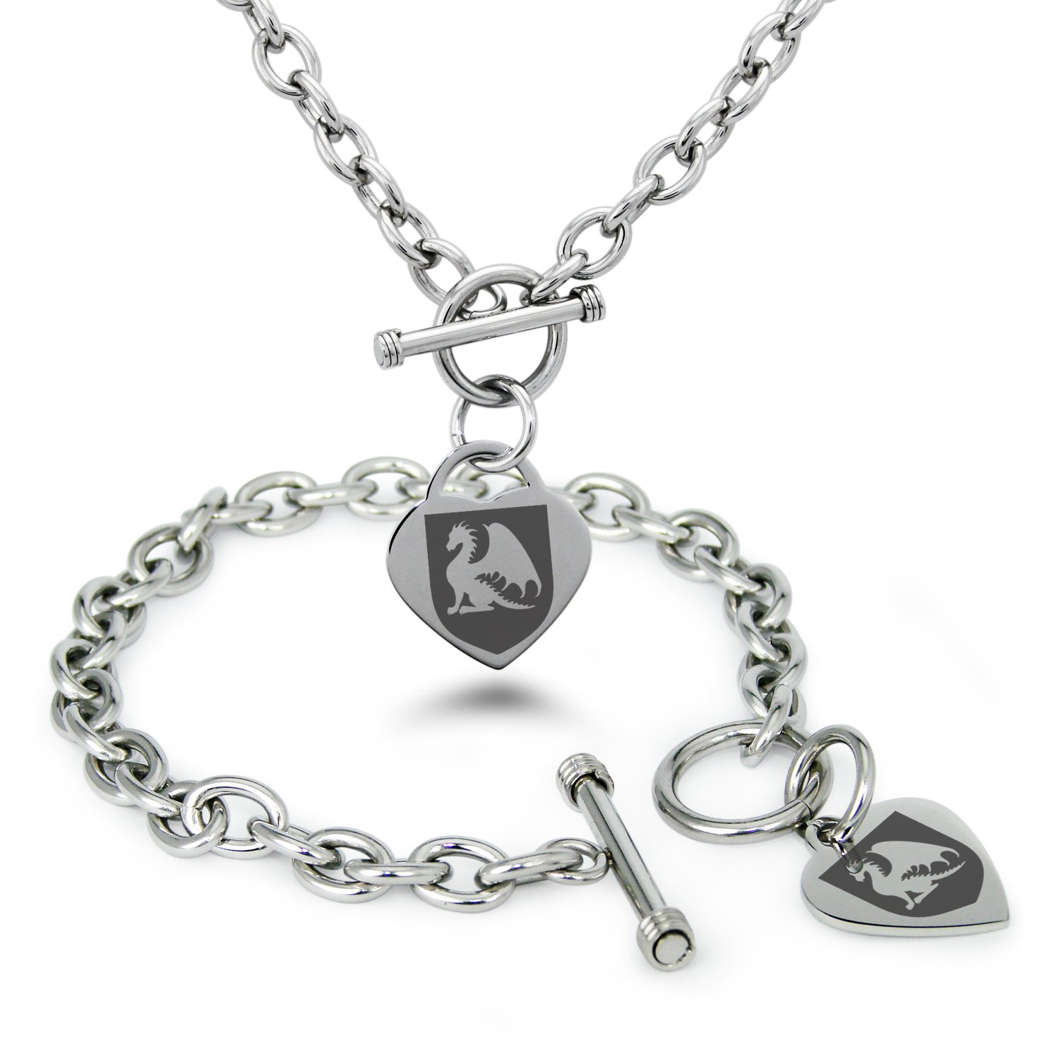Tioneer Stainless Steel Dragon Guardian Coat of Arms Shield Symbols Heart Charm, Bracelet & Necklace Set