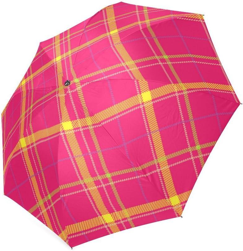 Custom Scottish Tartan Plaid Pattern Compact Travel Windproof Rainproof Foldable Umbrella