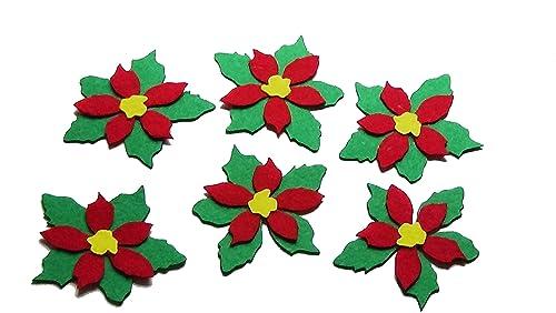 Adornos Navidad 6 Flores De Fieltro De Color Verde Rojo Y Amarillo De 9 5 X 8 5 Cm Aproxpara Decoración Y Manualidades Silvys Handmade Amazon Es Handmade