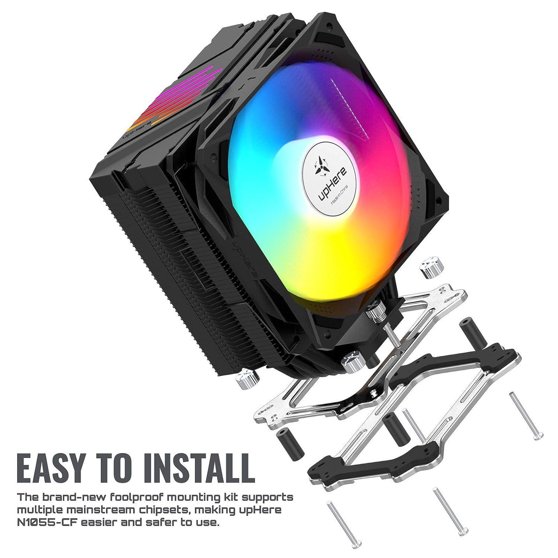 120mm PWM ARGB LED L/üfter,Prozessorl/üfter f/ür Intel und AMD CPUs upHere CPU K/ühler mit 5 Heatpipes N1054ARGB