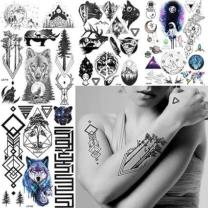 MRKAL Tatuaje Falso Tatuaje Impermeable Árbol Geométrico Falso ...