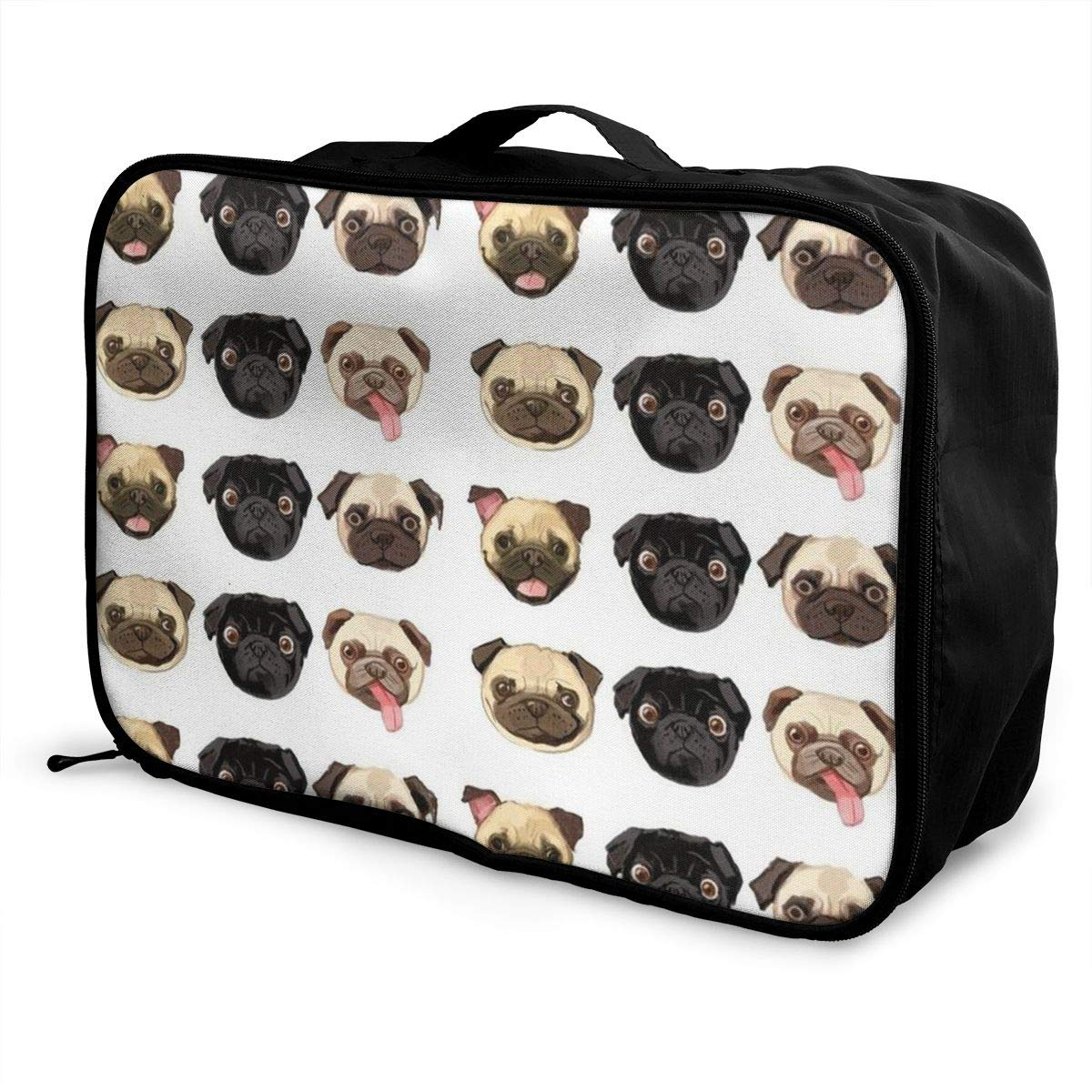 Travel Fashion Lightweight Large Capacity Duffel Portable Waterproof Foldable Storage Carry Luggage Tote Bag Cute Funny Pug Dog