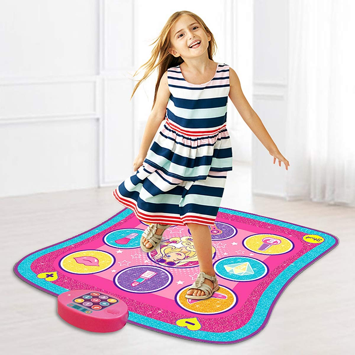 Color Dynamic Dance Mat, Children's Electronic Music Play Mat Ideal Gift and Toy Suitable for Children Over 3 Years Old,Pink